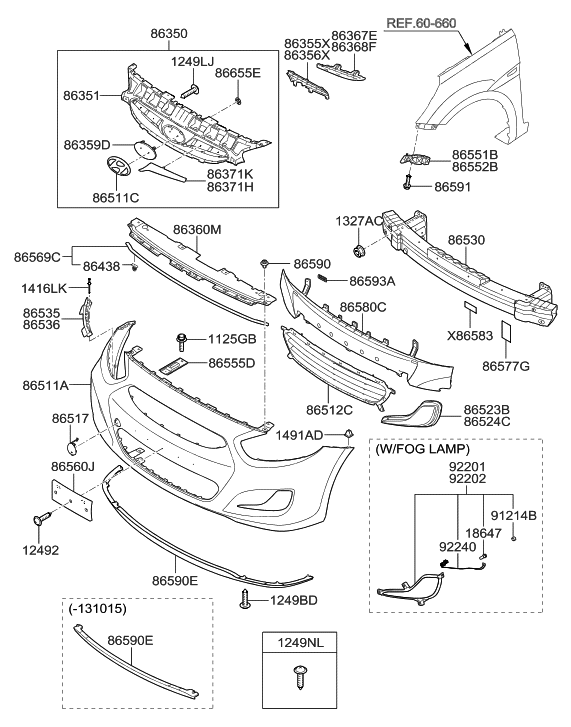 2014 Hyundai Accent Front Bumper