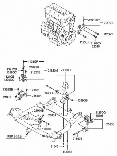 21670-2G000 - Genuine Hyundai BRACKET ASSEMBLY-ENGINE SUPPORT | 2011 Hyundai Sonata Engine Diagrams |  | Hyundai Parts Deal