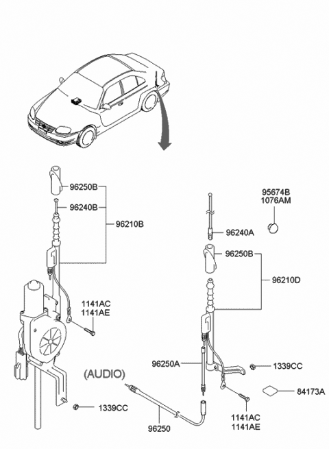 2003 Hyundai Accent Antenna