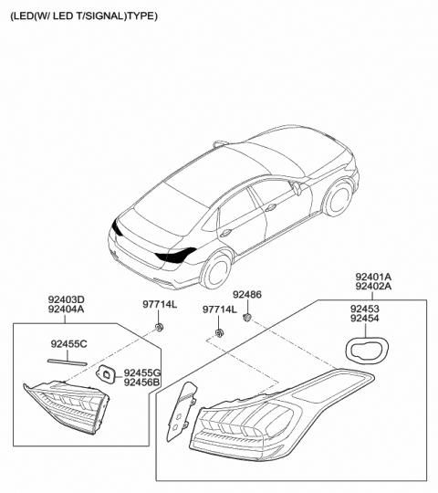 Rear Genuine Hyundai 92430-2C010 Combination Lamp