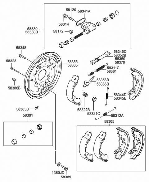 Right Genuine Hyundai 58380-25300 Wheel Cylinder Assembly Brake ...
