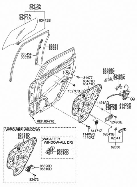 Genuine Hyundai 82630-22001-WK Door Window Regulator Handle Assembly