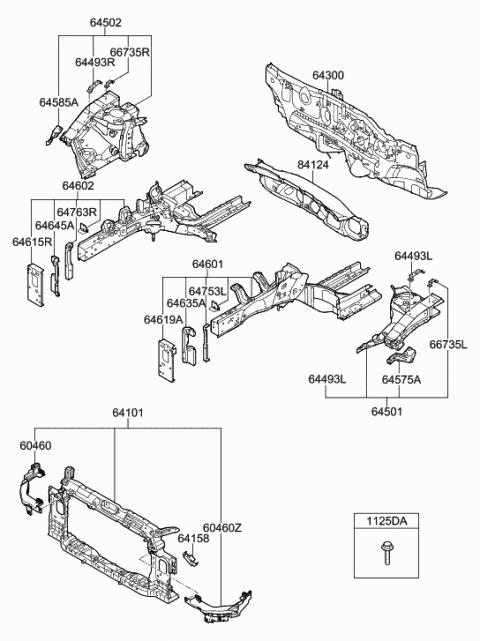 Genuine Hyundai 64501-3K010 Fender Apron Panel Assembly
