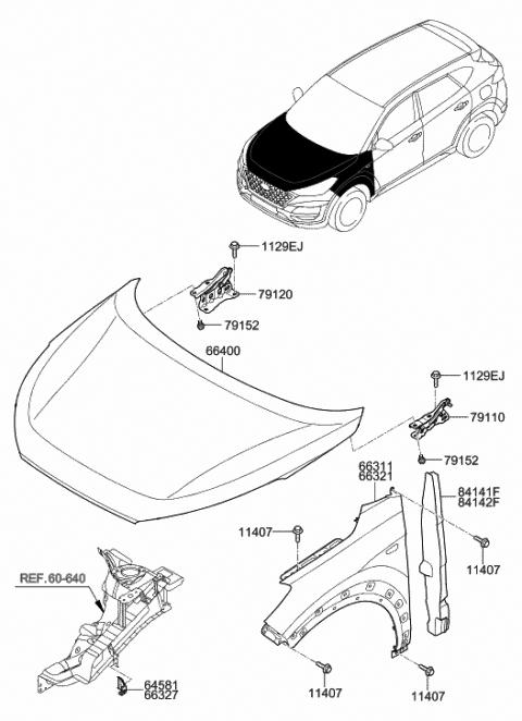 66311-D3000 - Genuine Hyundai PANEL-FENDER,LHHyundai Parts Deal