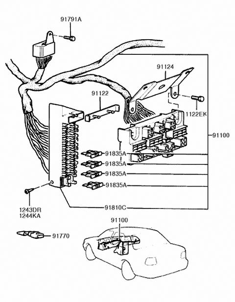 91100-24000 - genuine hyundai wiring assembly-main  hyundai parts deal