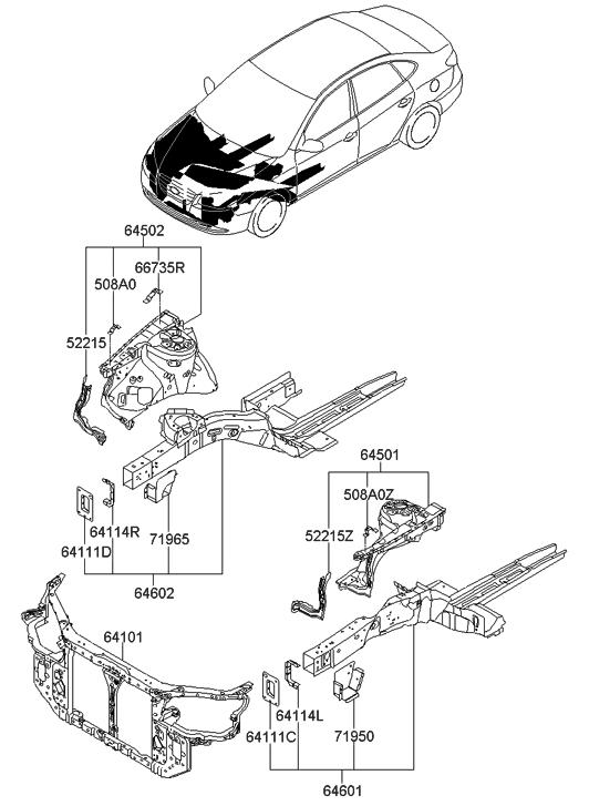 2010 Hyundai Elantra Fender Apron & Radiator Support Panel