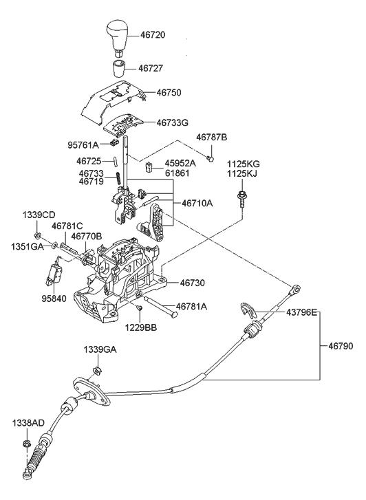 Genuine Hyundai 46720-2H300-9P Gear Shift Lever Knob Assembly