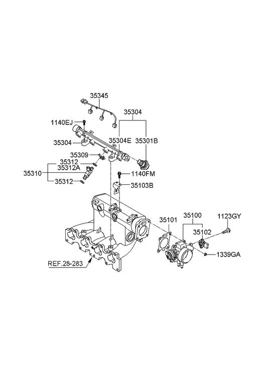 2008 Hyundai Elantra Throttle Body & Injector