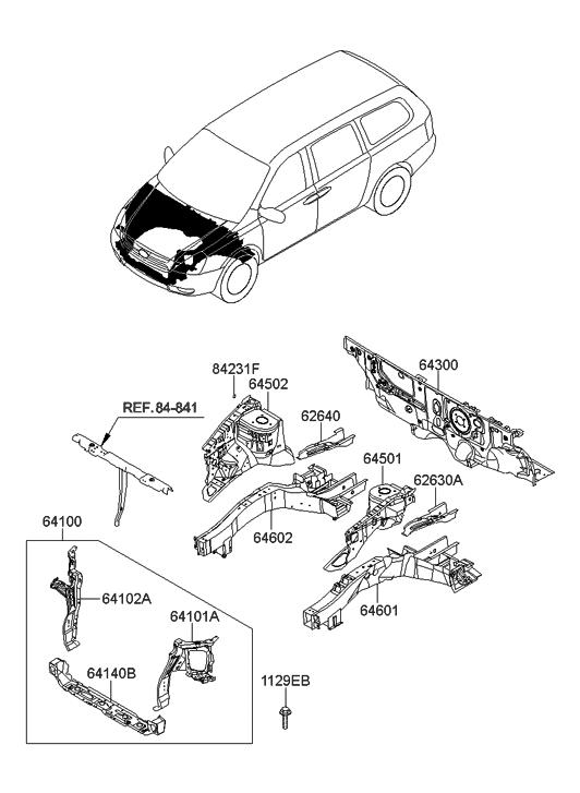 2008 Hyundai Entourage Fender Apron & Radiator Support Panel