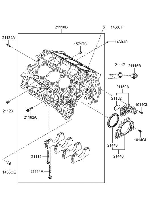 2007 Hyundai Entourage Cylinder Block