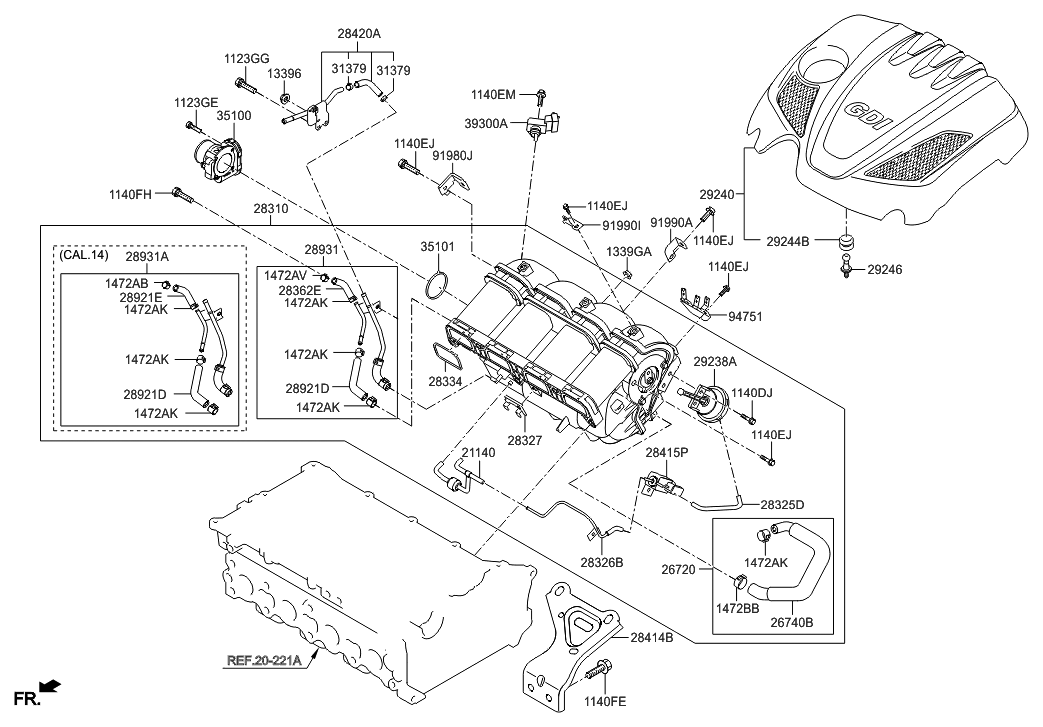 35100-2E000 - Genuine Hyundai BODY ASSEMBLY-THROTTLE