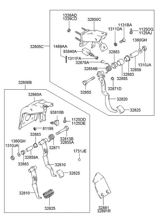 2001 hyundai accent clutch & brake pedal