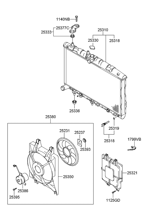 25310 25401 genuine hyundai radiator assembly. Black Bedroom Furniture Sets. Home Design Ideas