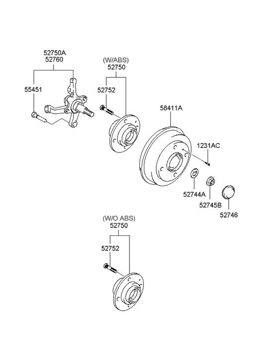 2000 hyundai accent rear wheel hub