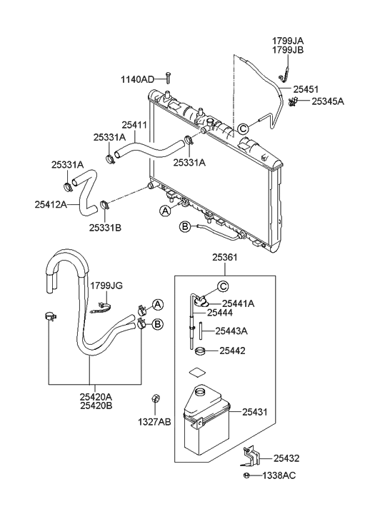 25431 25100 genuine hyundai reservoir assembly radiator. Black Bedroom Furniture Sets. Home Design Ideas