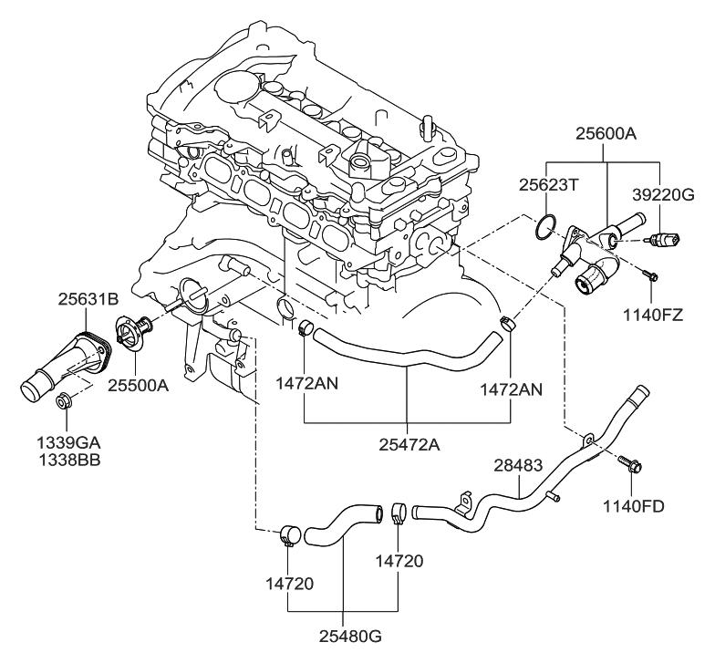2013 hyundai elantra gt coolant pipe hose hyundai parts deal rh hyundaipartsdeal com Hyundai Elantra Motor Diagram 2015 Hyundai Elantra Starter