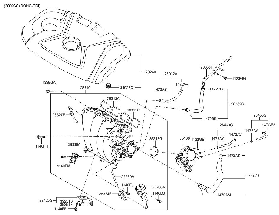 2014 hyundai elantra gt intake manifold hyundai parts deal rh hyundaipartsdeal com 2012 hyundai elantra engine diagram 2003 Hyundai Elantra GLS Parts