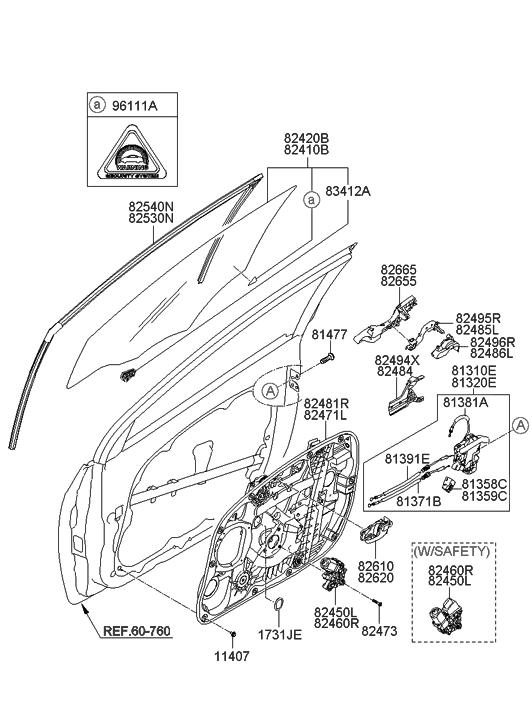 2013 Hyundai Elantra GT Front Door Window Regulator & Glass