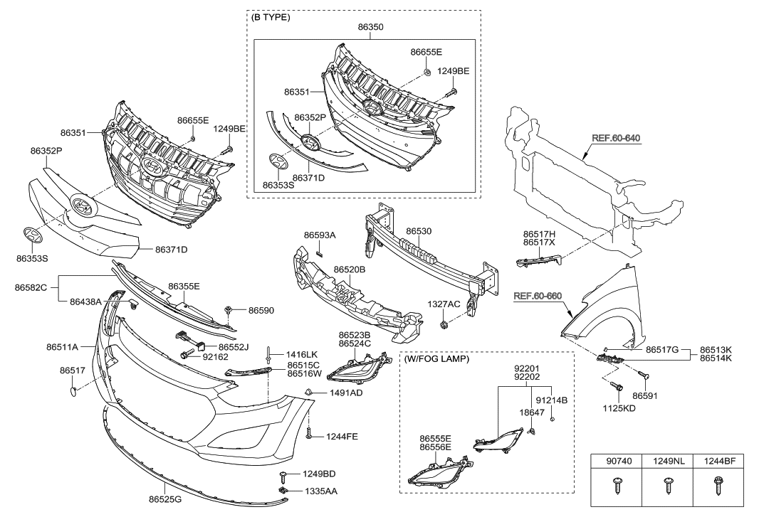 2013 Hyundai Elantra Front Bumper Parts Diagram • Wiring
