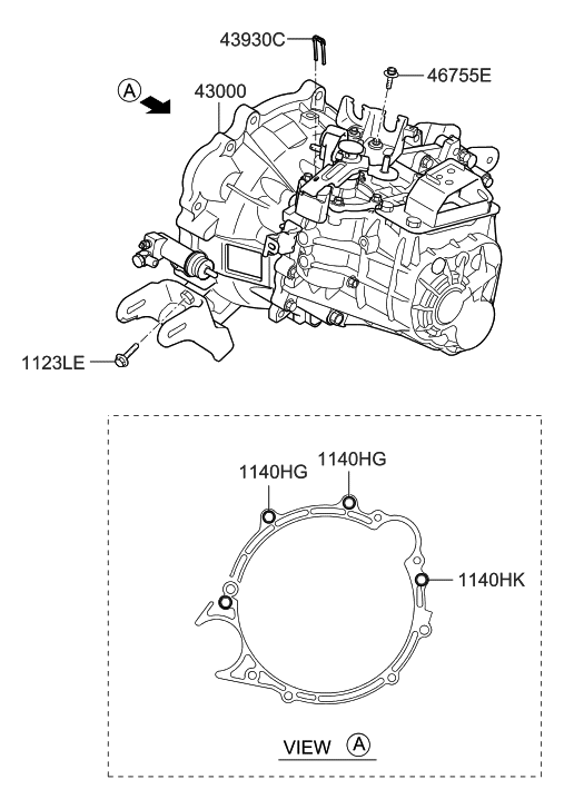 2013 Hyundai Elantra GT Transaxle Assy-Manual
