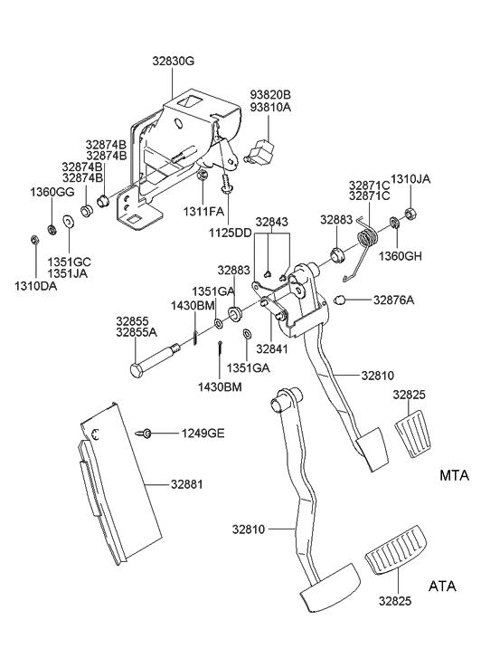 Genuine Hyundai 32810-2D100 Brake Pedal
