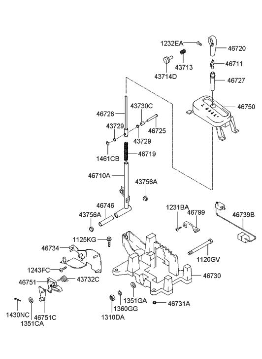 Genuine Hyundai 46725-38100 Detent Pin