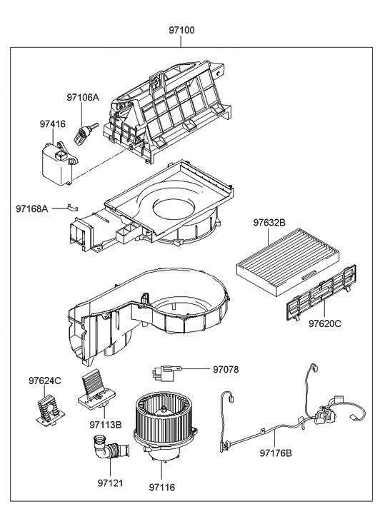 2005 Hyundai Elantra Heater System-Blower Unit
