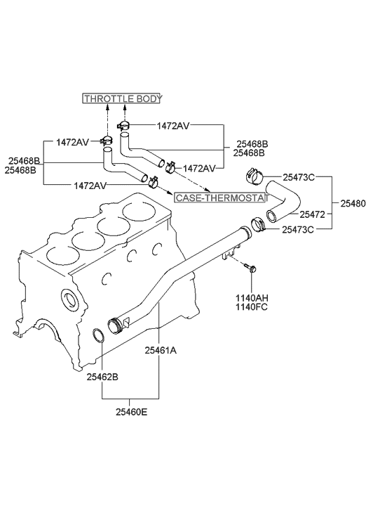 2005 hyundai elantra coolant hose \u0026 pipe hyundai parts deal 2005 Hyundai Elantra Engine Diagram Flywheel