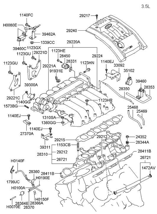 2002 hyundai santa fe intake manifold hyundai parts deal rh hyundaipartsdeal com Hyundai 2.7L Engine Diagram 2007 Hyundai Santa Fe Engine Diagram