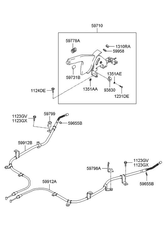 5979826000  Genuine    Hyundai    BRACKETPARKING    BRAKE    CABLE LH