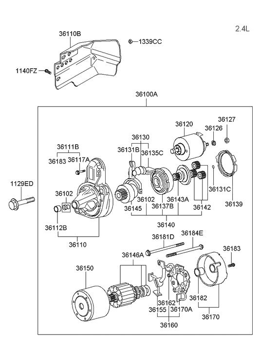 2005 Hyundai Santa Fe Starter Motor Thumbnail 1