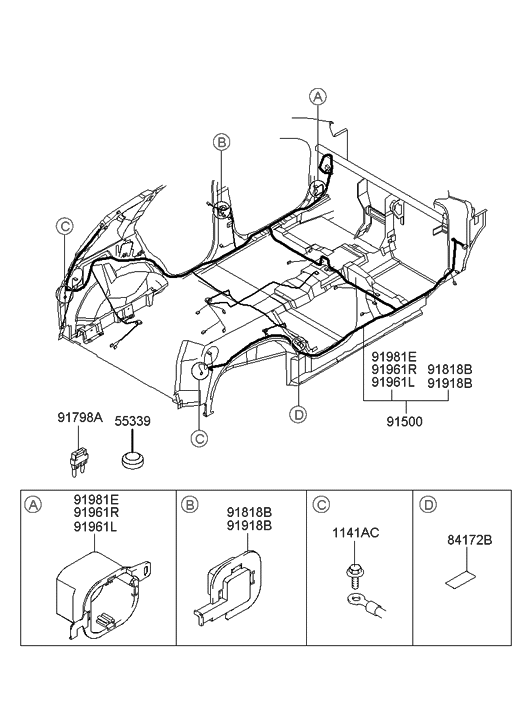 2004 Hyundai Santa Fe Floor Wiring - Hyundai Parts Deal