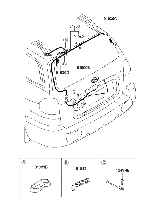 91910 26010 genuine hyundai wiring assembly tail gate rh hyundaipartsdeal com Diagram of Ford Tailgate F150 Tailgate Parts