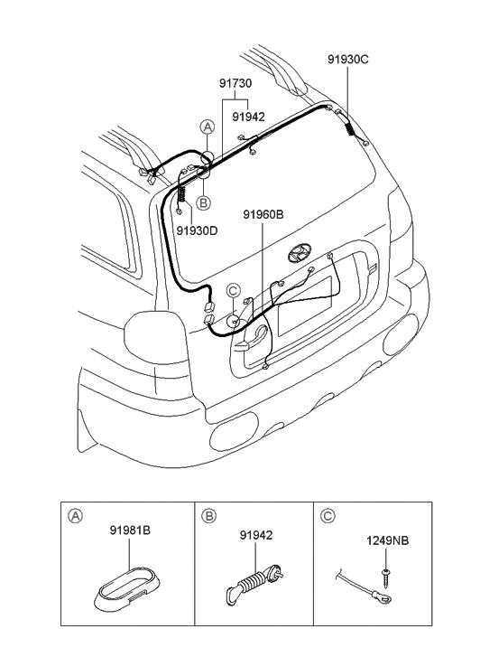 2003 hyundai santa fe trunk lid wiring hyundai parts deal rh hyundaipartsdeal com Chevy Silverado Tailgate Parts Diagram Toyota Tundra Tailgate Assembly Diagram