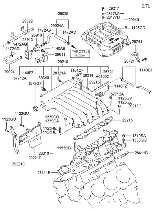 2002 hyundai santa fe intake manifold hyundai parts deal rh hyundaipartsdeal com Hyundai 2.7L Engine Diagram 2011 Hyundai Santa Fe Engine Diagram