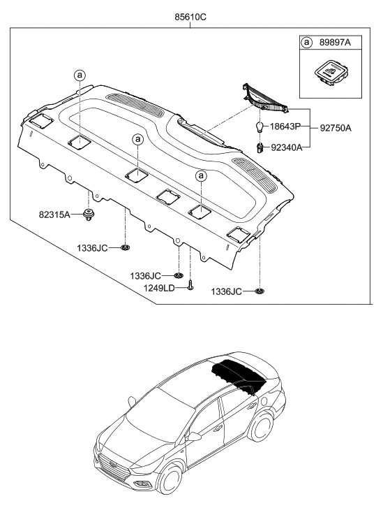 2019 Hyundai Accent Rear Package Tray