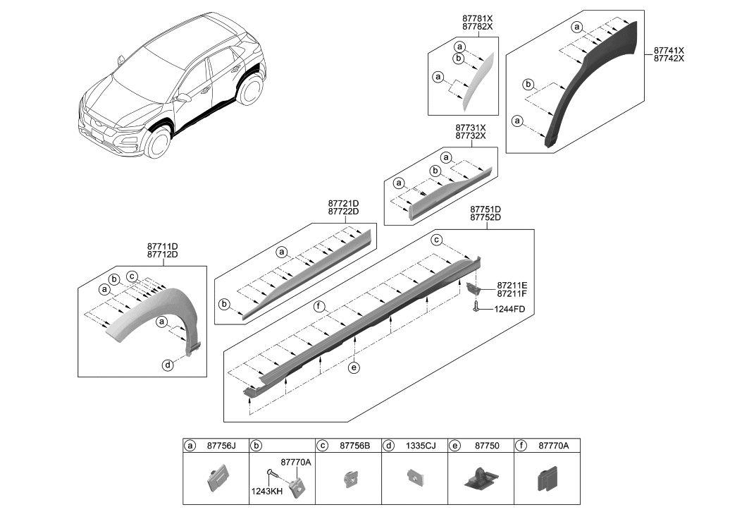 2019 Hyundai Kona Electric Body Side Moulding