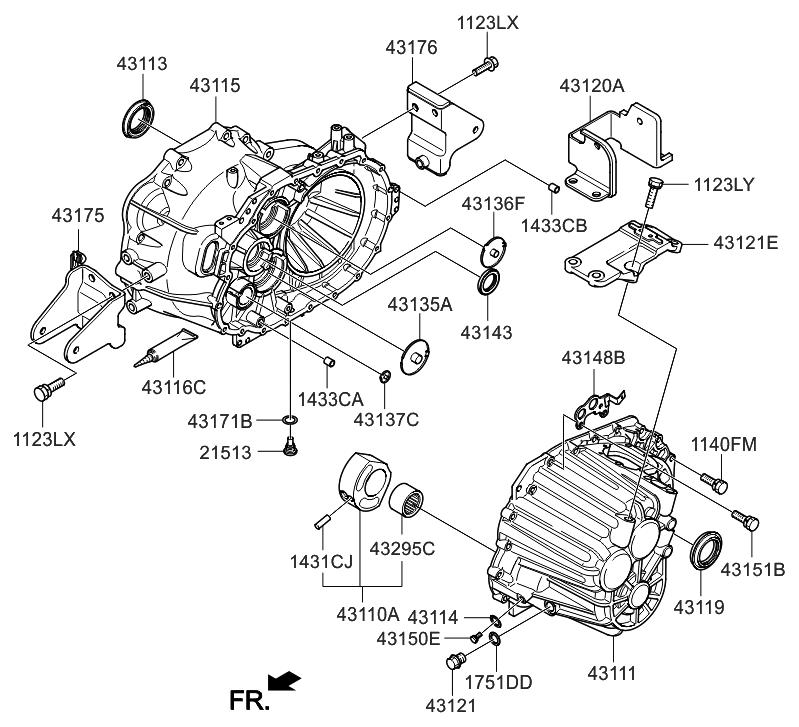 2007 Hyundai Sonata New Body Style Transaxle Case-Manual