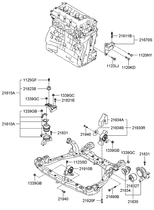 21910 3l060 genuine hyundai bracket assembly roll. Black Bedroom Furniture Sets. Home Design Ideas