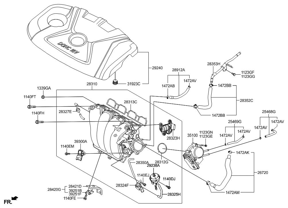29240 2e010 genuine hyundai cover assembly engine 2012 hyundai veloster engine diagram 2012 hyundai elantra us alabama made intake manifold