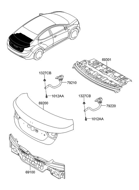 2012 Hyundai Elantra US Alabama made Back Panel & Trunk Lid