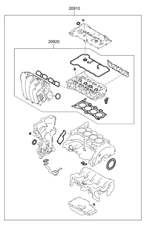 20910 2ea01 genuine hyundai gasket kit engine overhaul. Black Bedroom Furniture Sets. Home Design Ideas