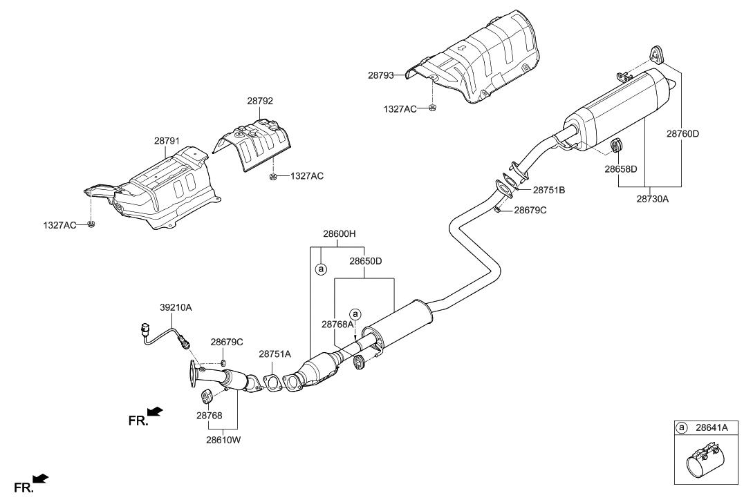 28710 G3410 Genuine Hyundai Muffler Assembly Rear Elantra Engine Diagram 2018 Gt Exhaust Pipe