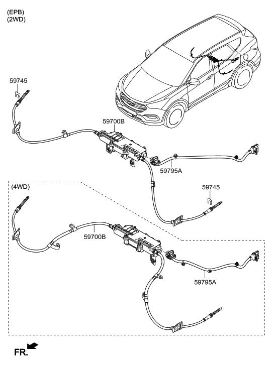59700B8600  Genuine    Hyundai    PARKING    BRAKE    ASSEMBLY