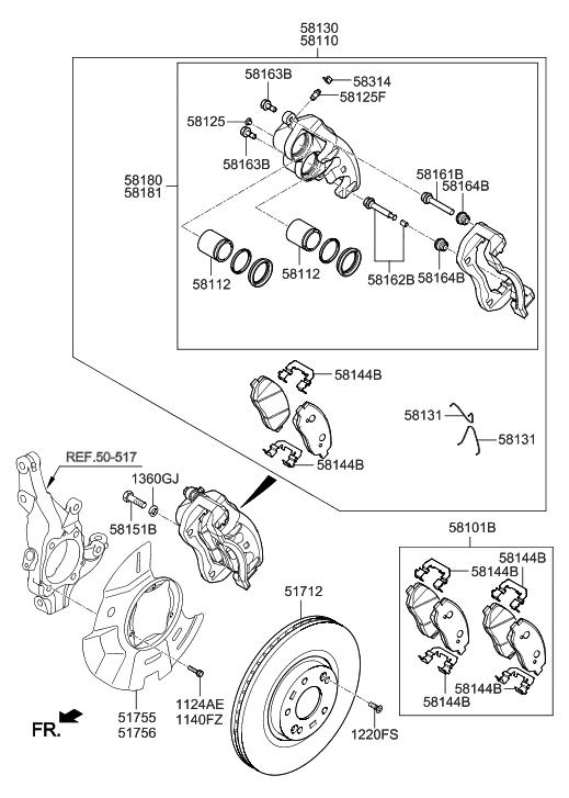 517124Z000  Genuine    Hyundai    DISCFRONT WHEEL    BRAKE