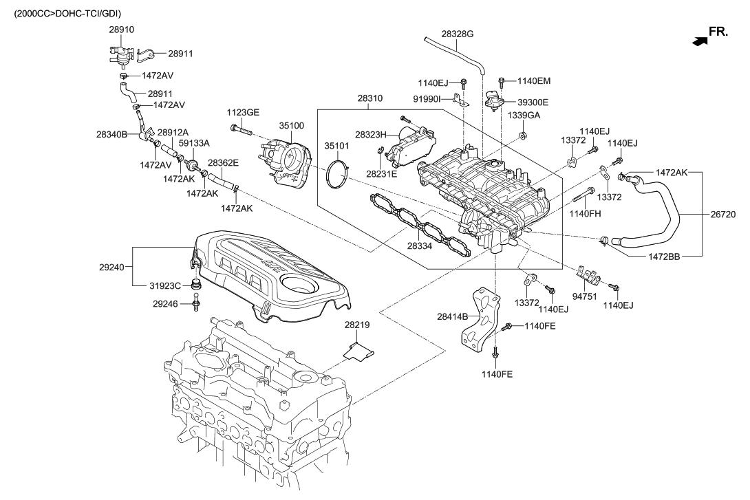 2015 hyundai sonata intake manifold hyundai parts deal rh hyundaipartsdeal com 2005 Hyundai Elantra Cooling System Diagram 2001 Hyundai Elantra Engine Diagram