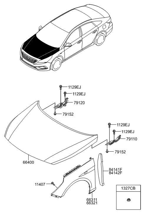 2016 Hyundai Sonata Fender Amp Hood Panel Hyundai Parts Deal