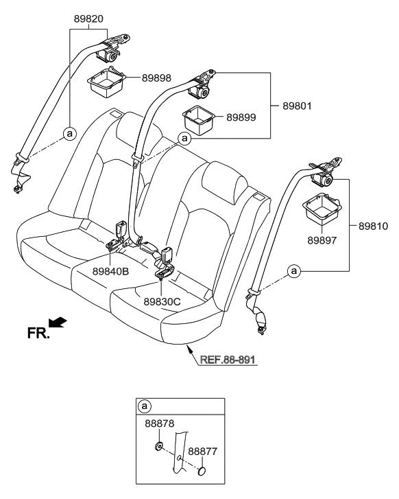 89850 c2000 ppb genuine hyundai seat belt assembly rear center rh hyundaipartsdeal com hyundai ix35 seat belt replacement hyundai i10 seat belt replacement