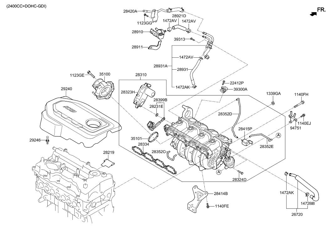 2015 hyundai sonata intake manifold hyundai parts deal rh hyundaipartsdeal com Hyundai Santa Fe Engine Diagram 2002 Hyundai Santa Fe Motor Mounts Diagram