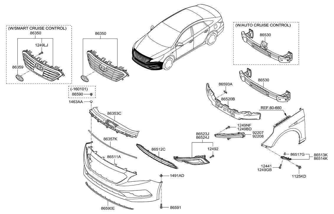 86561 C2000 Genuine Hyundai Grille Front Bumper
